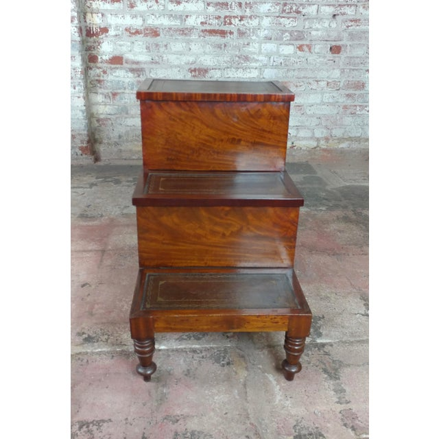 Sensational 19Th Century Georgian Antique Mahogany Library Steps Machost Co Dining Chair Design Ideas Machostcouk