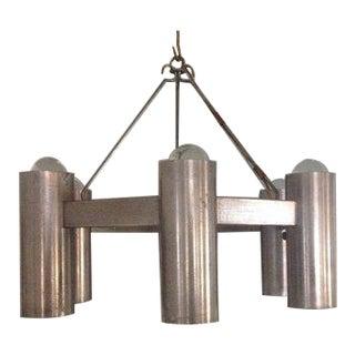 1960s Stuart Barnes for Robert Long Gun Metal 6 Light Architectural Chandelier For Sale