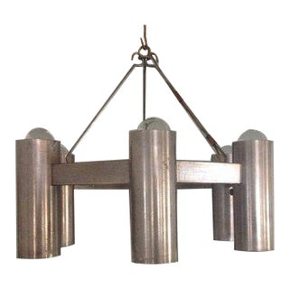 1960s Stuart Barnes for Robert Long Steel 6 Light Architectural Chandelier For Sale