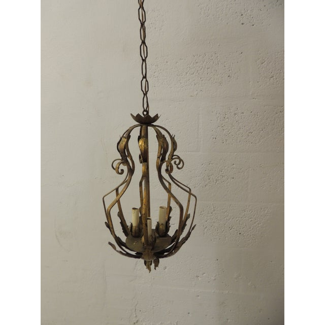 Vintage Iron and Gold Leaf Forged Hanging Lantern For Sale - Image 9 of 9