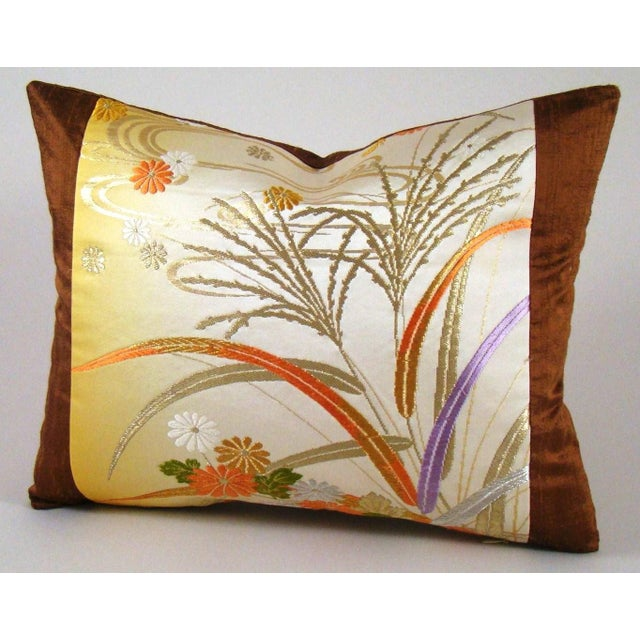 Silk Japanese Obi Yellow Ombre Streamside Floral Lumbar Pillow Cover For Sale - Image 7 of 7