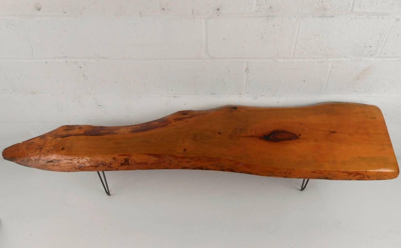 Contemporary Mid Century Free Form Tree Slab Coffee Table For Sale   Image  3 Of