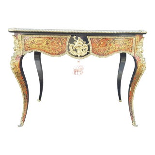 Antique French Boulle Desk With Brass Inlaid