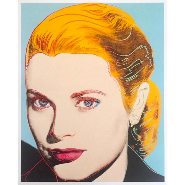"Andy Warhol Estate Vintage 1989 Pop Art Lithograph Print "" Grace Kelly "" 1984 For Sale - Image 9 of 10"