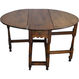 18th Century English Oak Drop Leaf Gateleg Table For Sale