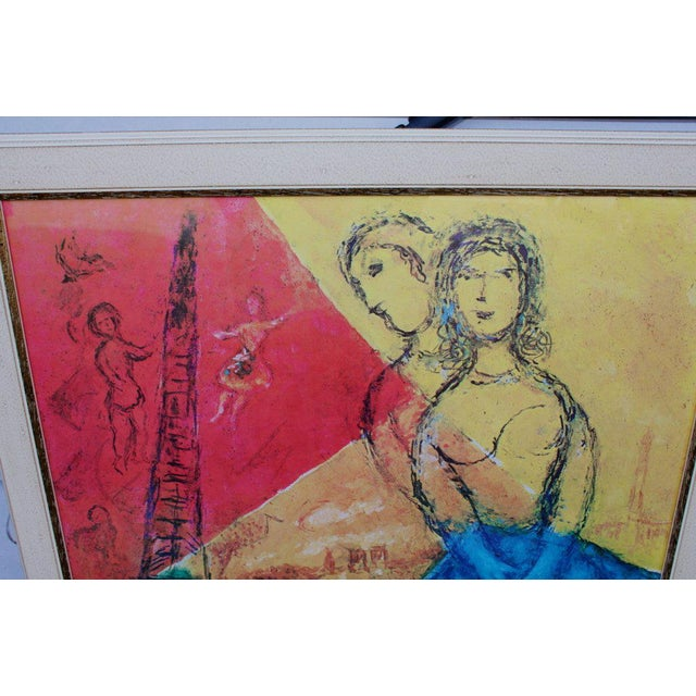 A framed Marc Chagall exhibition poster for a Pitti palace exhibition in 1978. It is newly framed.