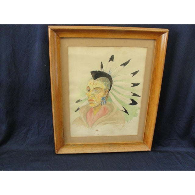 1930s Traditional Watercolor on Paper of Blackhawk Indian by E. Rigling For Sale - Image 9 of 9