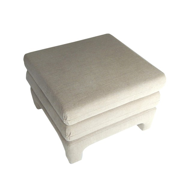 Fabric Upholstered Ottomans For Sale - Image 7 of 9