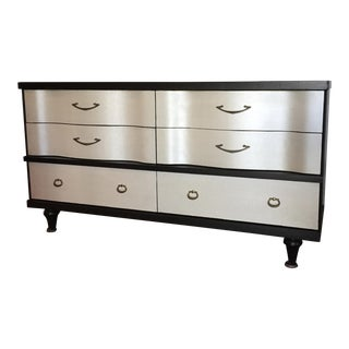 1970s Hollywood Regency Bassett Sideboard, Black With Pearlized Faux Leather