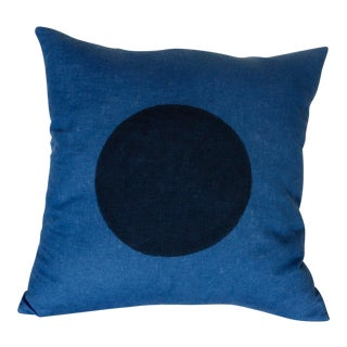 Minimalist Hand-Printed Indigo Linen Rising Sun Pillow For Sale