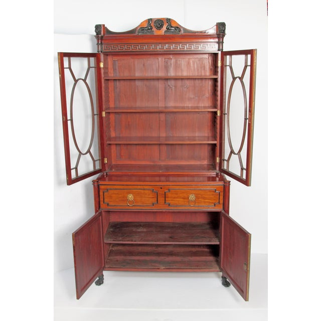 Late 19th Century Period English Regency Secretary Cabinet With Ebonized Trim For Sale - Image 5 of 13