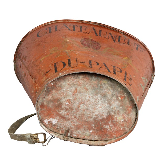 Orange French Tole Grape Basket from the Chateauneuf Du-Pape For Sale - Image 8 of 9
