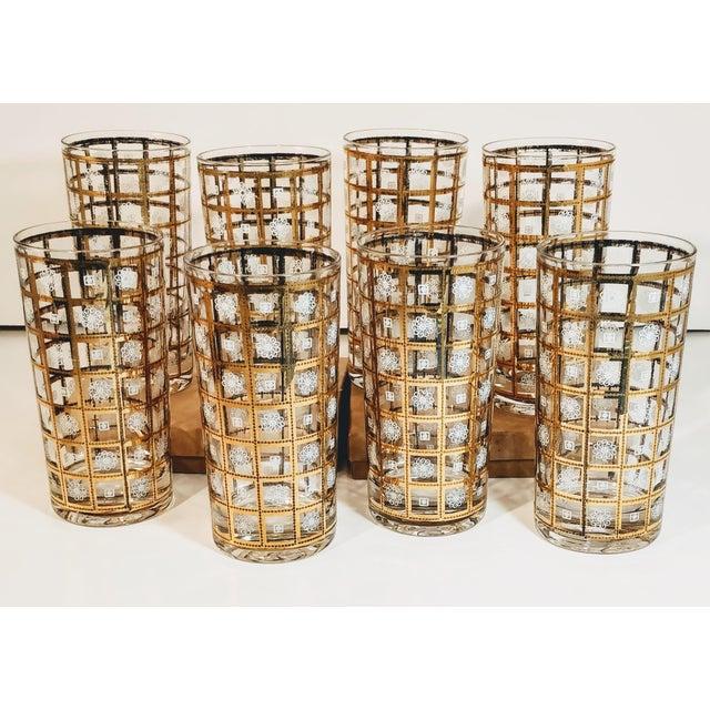 Vintage Gold Highballs Glasses Barware Bar Geometric Floral White - Set 8 For Sale - Image 6 of 8