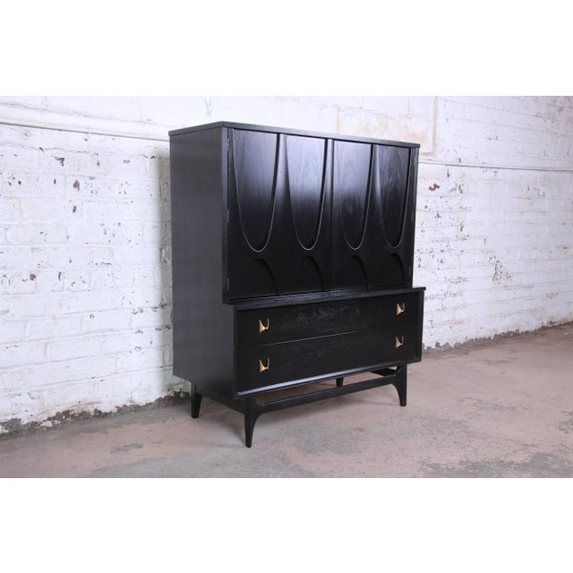 Danish Modern Broyhill Brasilia Mid-Century Modern Ebonized Gentleman's Chest, 1966 For Sale - Image 3 of 13