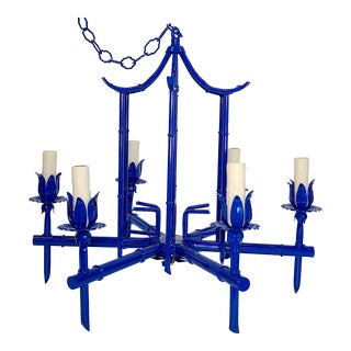 Italian Tole Chinoiserie Faux Bamboo Royal Blue Pagoda Chandelier For Sale