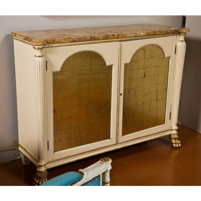 Regency Style Marble Top Cabinets - A Pair For Sale - Image 9 of 10