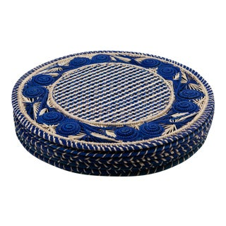 Blue and Cream Round Iraca Fibre Placemats - Set of 8 For Sale