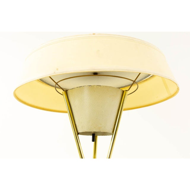 Mid-Century Modern Gerald Thurston for Lightolier Mid Century Brass Tripod Floor Lamps - Pair For Sale - Image 3 of 8