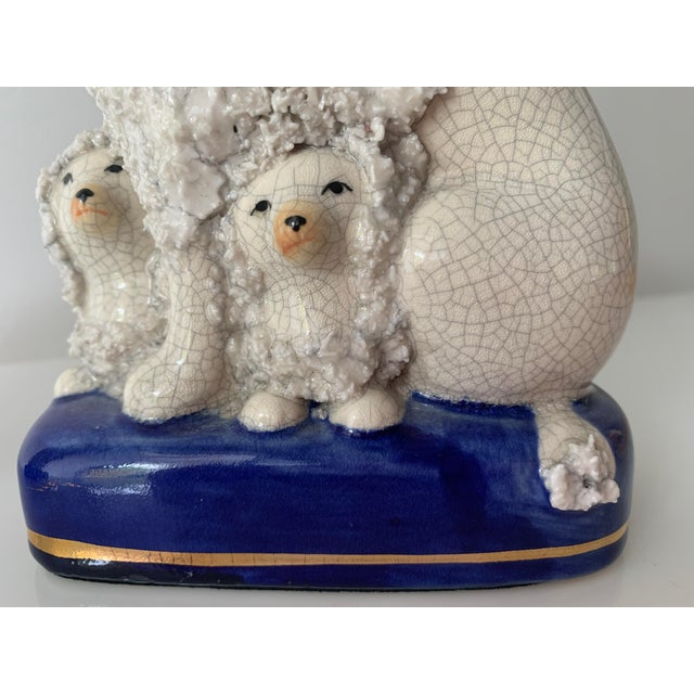 English Vintage Staffordshire Poodles With Pups - a Pair For Sale - Image 3 of 11
