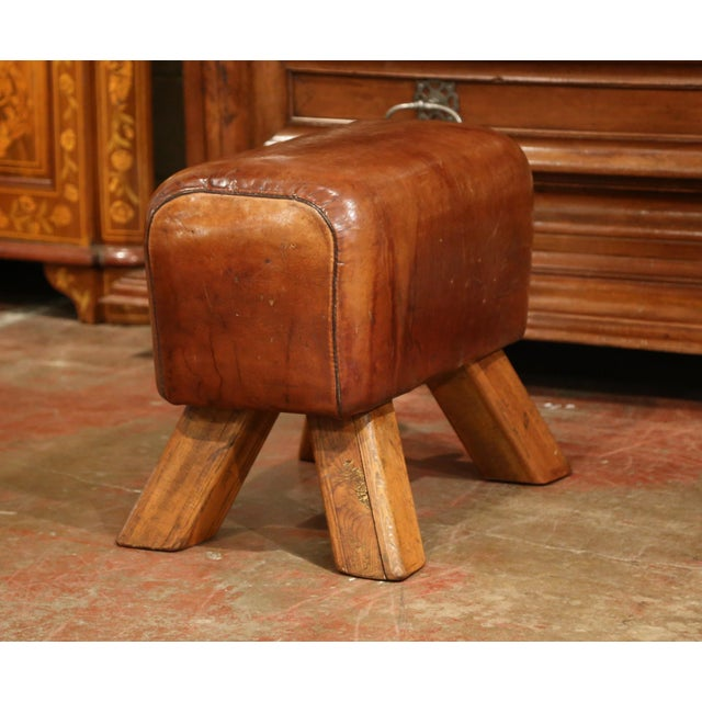 Rustic Early 20th Century Czech Pommel Horse Bench With Patinated Brown Leather For Sale - Image 3 of 10