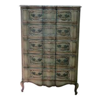 Mid-20th Century Louis XIV Blue Wood Highboy Dresser