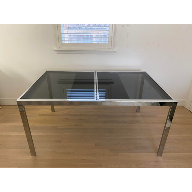 1970's Chrome and Smoked Glass Extension Dining Table by Milo Baughman For Sale - Image 9 of 13