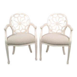 Pair of Hollywood Regency Off White Wooden Ornate Armchairs Beige Boucle Fabric For Sale