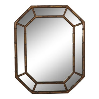Faux Bamboo Octagonal Mirror in Gold For Sale