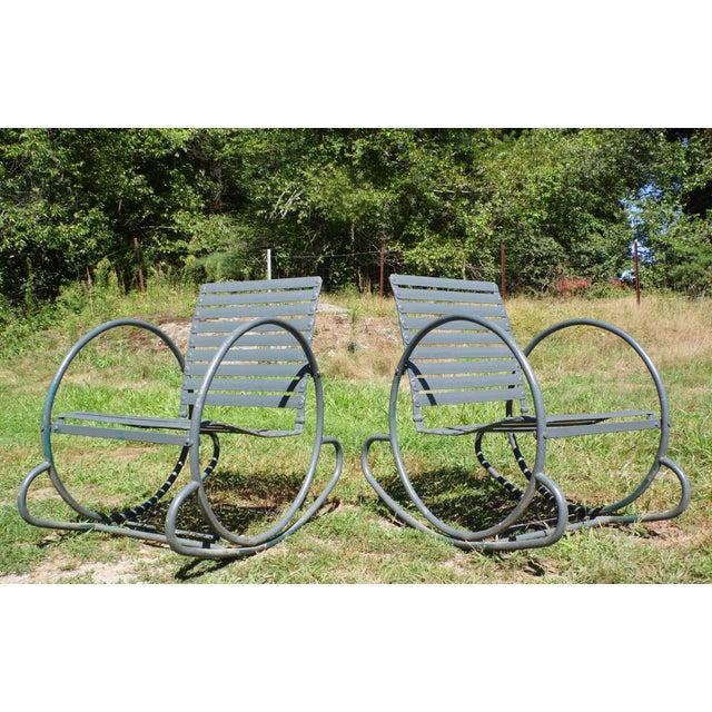 Art Deco Patio Metal Hoop Rocking Chairs - A Pair - Image 2 of 10