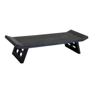 Mid Century Custom Finish Black Cerused Coffee Table For Sale