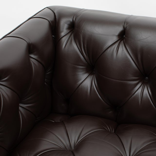 Brown Ward Bennett Button-Tufted Leather Sofa for Lehigh Furniture, Circa 1960s For Sale - Image 8 of 13