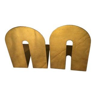 Walter Von Nessen Style Mid Century Brass Bookends - a Pair For Sale