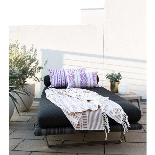 Lilac & White Ikat Guatemalan Pillow - Image 6 of 9