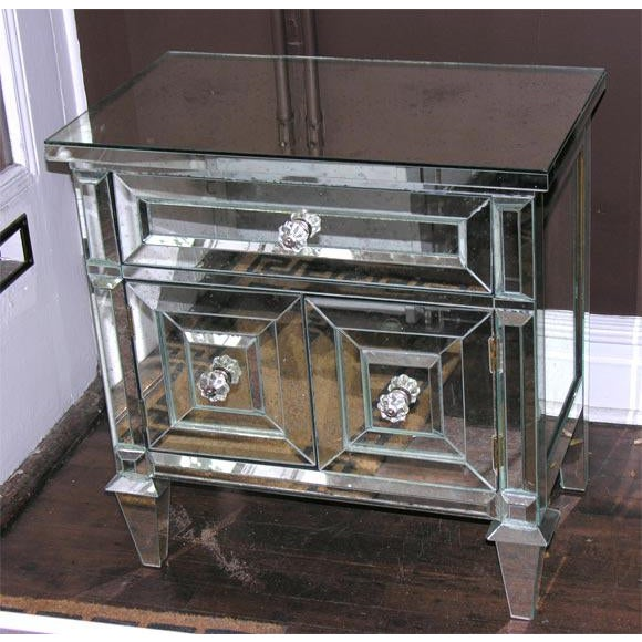 Glass Pair of Custom American Mirrored Cabinet Commodes For Sale - Image 7 of 7