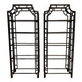 Image of Pair of Lacquered Aluminum Faux Bamboo Pagoda Chippendale Style Etageres For Sale