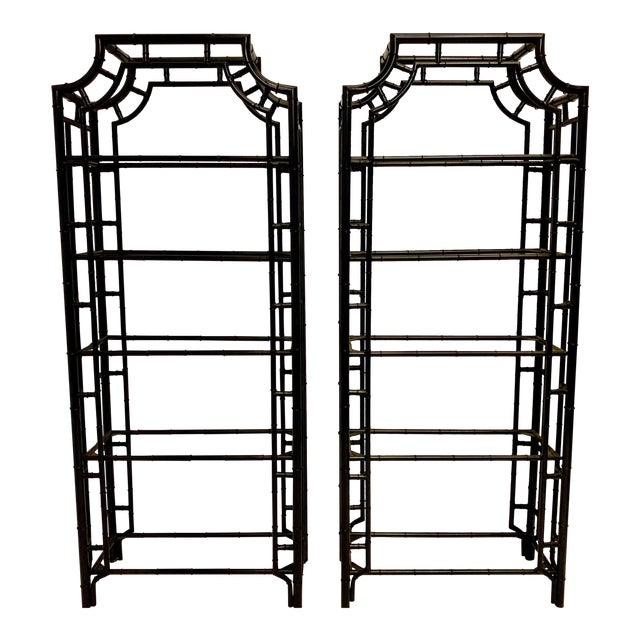 Pair of Lacquered Aluminum Faux Bamboo Pagoda Chippendale Style Etageres For Sale
