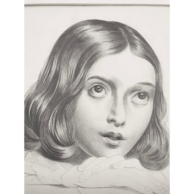 19th C Portrait Drawing of a Young French Girl - Image 2 of 4