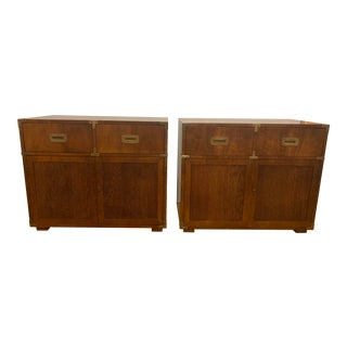 1960s Henredon Campaign Chests Buffets - a Pair For Sale