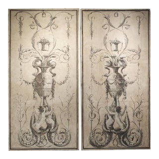 Pair of Large Neoclassical Grisaille Paintings From Siena Italy, Circa 1810 For Sale