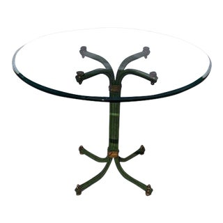 Glass Top & Green Metal Dining Table