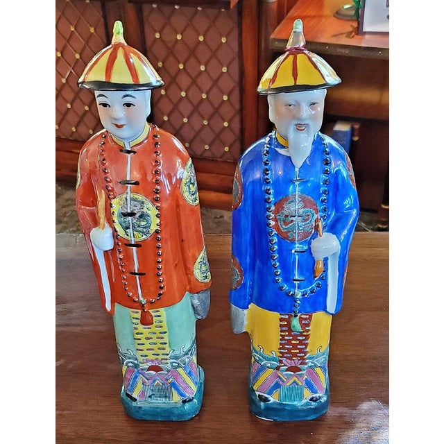 Asian Vintage Chinese Ceramic Noblemen - a Pair For Sale - Image 3 of 11