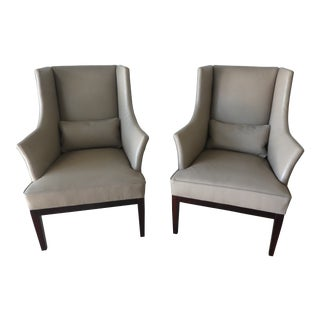 Early 21st Century Vintage English George Smith Leather Wing Chairs - a Pair For Sale