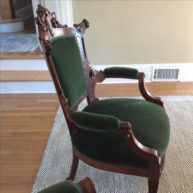 Antique Green Velvet Chairs - Image 4 of 6