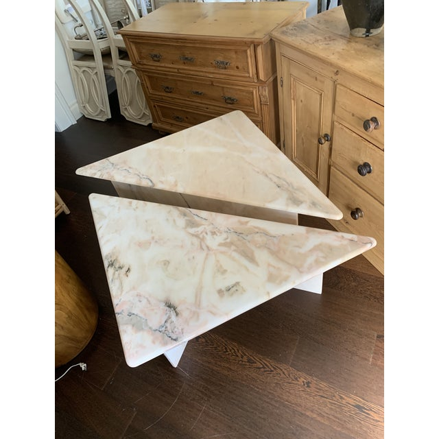 Stone Mid Century Tiered Triangular Pink Marble Cocktail Table For Sale - Image 7 of 8