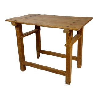 18th Century Country Farm Distressed Fruitwood Side Table For Sale