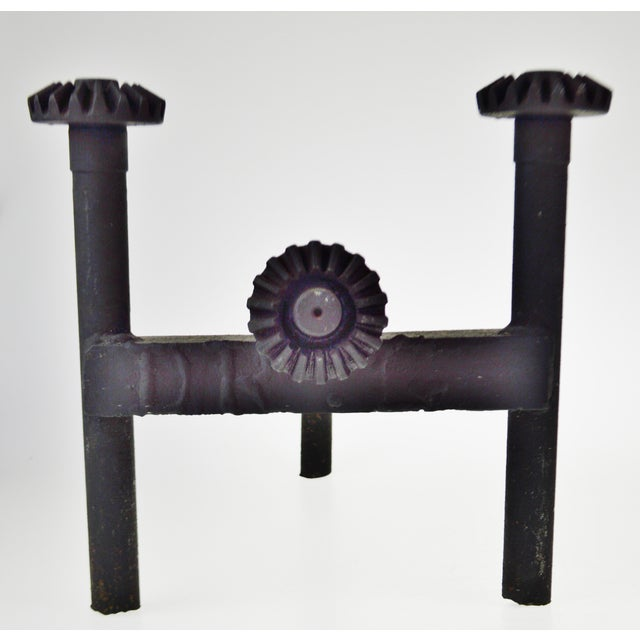 Early 20th Century Early Folk Art Antique Ford Motor Company Model T/Model a Axle Shaft Chenets Andirons- a Pair For Sale - Image 5 of 13