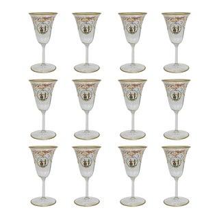 Enameled Venetian Glass White Wine Stems or Glasses, 1930s - Set of 12 For Sale