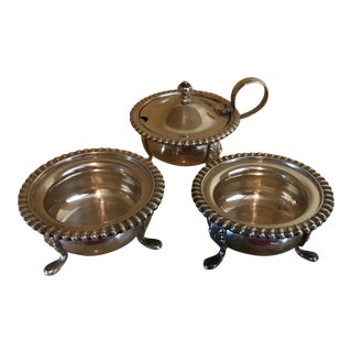 Vintage Silver Mustard Pot & Matching Salt Cellars - Set of 3 For Sale