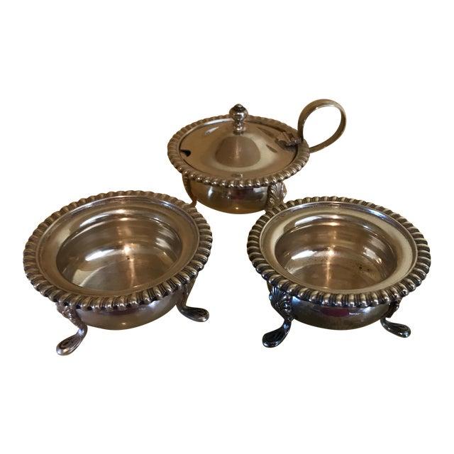Vintage Silver Mustard Pot & Matching Salt Cellars - Set of 3 For Sale