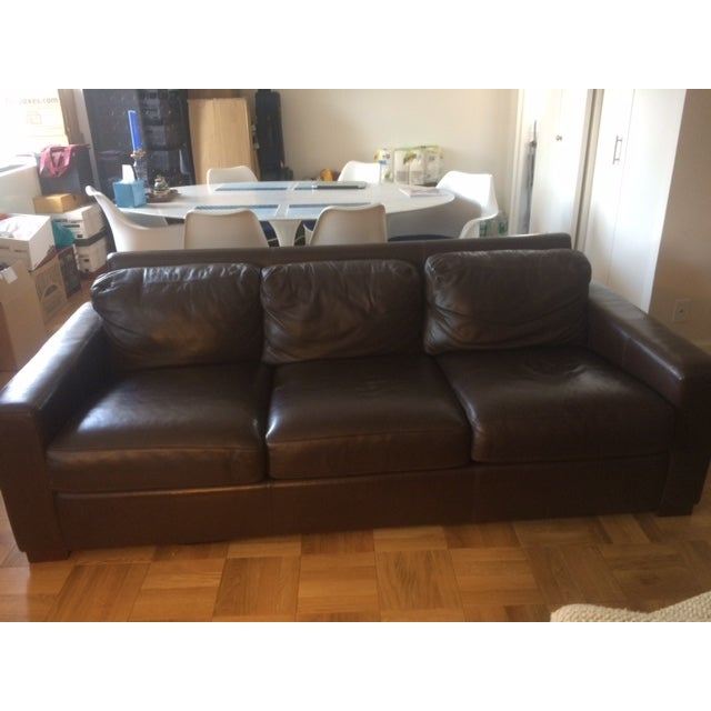"""Contemporary Design Within Reach 84"""" Portola Leather Sofa For Sale - Image 3 of 5"""